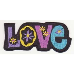 Love Flower Peace Sign Symbol Embroidered Iron on Patch