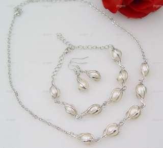 FREE S&H set pearl necklace bracelet earring gem 8 9mm*
