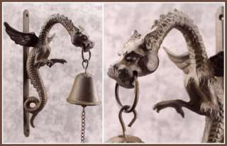 MYTHICAL WINGED DRAGON Cast Iron BELL Wall Mount GOTHIC RENAISSANCE