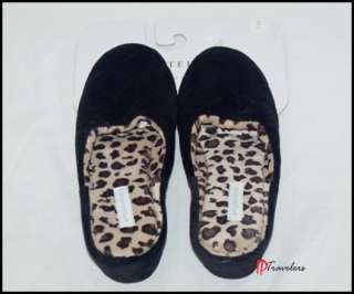 Charter Club Womens Black Leopard Slippers Small Medium Large XL NWT $