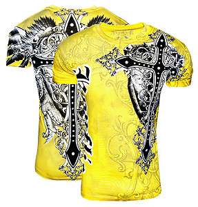 Cross Yellow Graphic Designer Tshirt MMA Tee UFC Club Tattoo GOD