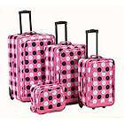 Rockland Fleur De Lis Black Pink 4 pc Luggage set NEW