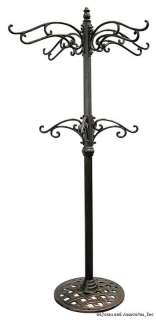 Cast Iron Hanging Basket Tree Garden Plant Stand Brass