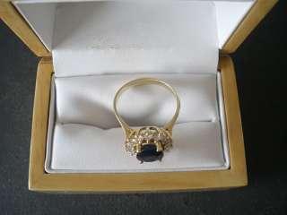 4CT Lady Di & Kate Middleton Dark Blue Oval Sapphire & Diamond Ring