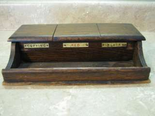 ANTIQUE Primitive INK POT/WELL STAND Desk Set WOODEN/WOOD BOX So