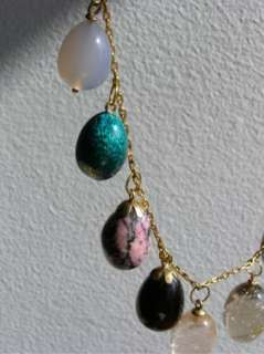 Imperial Russian 14k Gold&precious stones Easter eggs necklace