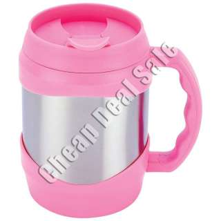 Stainless Steel Large Big Oversized Huge Pink Coffee Travel Cup New