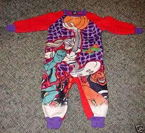 Vintage Kids Space Jam Full Zip Pajamas 1 Piece Jordan