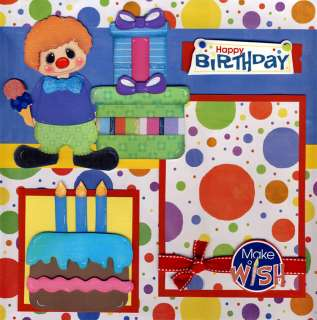 HAPPY BIRTHDAY ~ 2 premade scrapbooking pages 12x12 BY CHERRY boy or