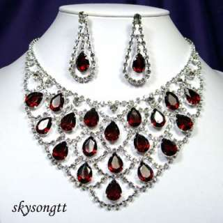 Burgundy Red Clear Crystal Rhinestone Necklace Earrings Set S1258R