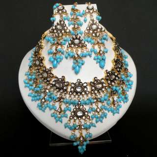 4PC INDIAN GOLD PLATED BRIDAL KUNDAN JEWELRY NECKLACE EARRING TIKKA