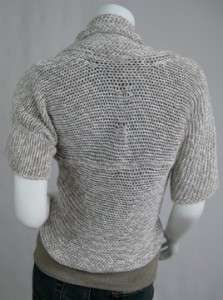 BRUNELLO CUCINELLI Oatmeal Linen & Cotton Crochet Shawl Collar Shrug