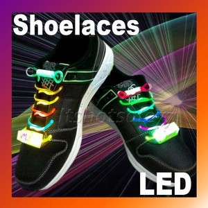 Mode LED Light Up Colorful Shoelaces Flash Glow Strap String Disco