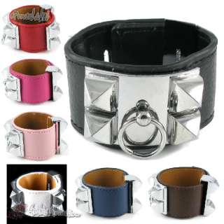 Goth Bracelet Stud 7 Colors REAL Leather Women/Lady Buck Wristband