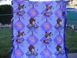 FANCY NANCY PURPLES FLEECE BLANKET HEAD LETTERING BLOCK