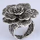 Black Tibetan Silver Carved Big Bloom Flower Ring New Fashion