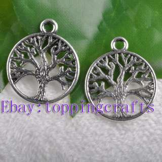 FREE SHIP 100pcs Tibetan Silver Round Tree Charms TP7618 24mm