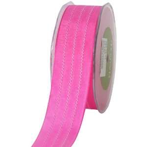 Arts 1 1/2 Inch Wide Ribbon, Hot Pink Solid with White Stitches Arts
