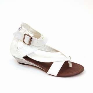 Women Wedge Sandals Buckle Criss Cross Covered Heel NEW