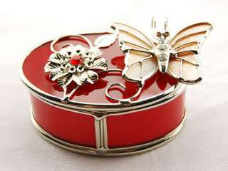 Butterfly Flower Oval Crystal Rhinestone Jewelry Trinket Box