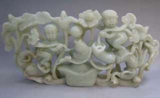Chinese Nephrite Jade Carved Lotus & Boy Statue