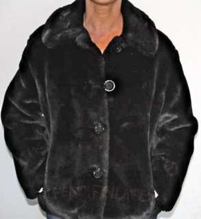 FENDI JEANS ESPRESSO brown/black FAUX FUR COAT