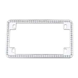 Crystal Rhinestone Clear Motorcycle Bike Chrome License Plate Frame