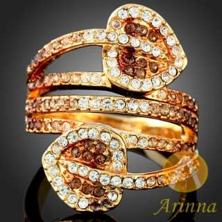 Arinna double Ace rose gold GP swarovski Crystals Ring