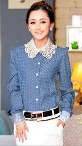 Womens Clothes Ruffle Front Denim Lace Collar Top Shirt Blouse