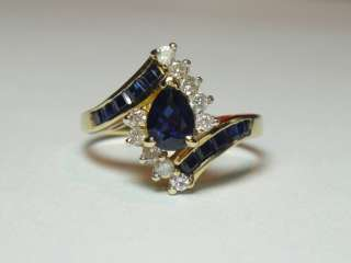 ESTATE 2ctw BLUE SAPPHIRE DIAMOND FANCY COCKTAIL DINNER RING 14K Y