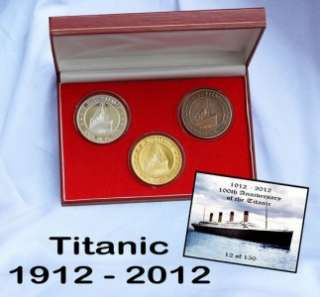 Titanic 100 Years1912  2012 Proof Gold Silver Bronze Plated Crown Size