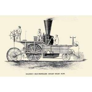 Saladees Self Propelling Rotary Steam Plow   Paper Poster