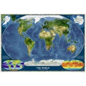 Geographic RE0622004T Satellite World Map   Tubed Map Toys & Games