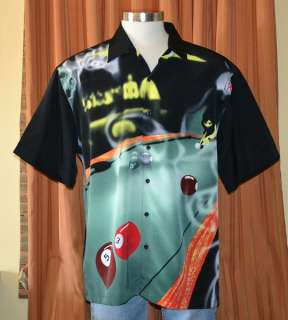 Havanera Co. BLACK BILLIARD POOL S/S SHIRT MENS XXL 2XL