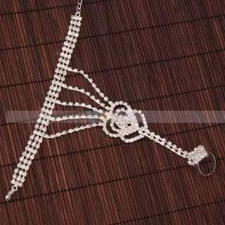 Pretty double Heart shaped Rhinestone Bracelet & Ring
