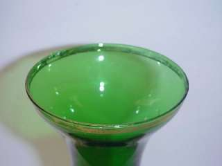BEAUTIFUL DECORATIVE LARGE OLD GREEN GLASS VASE, MADE IN ITALY