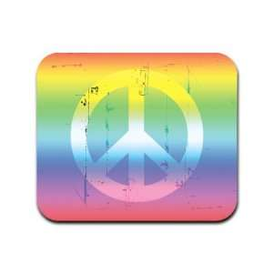 Distressed Peace Sign Symbol Rainbow Mousepad Mouse Pad