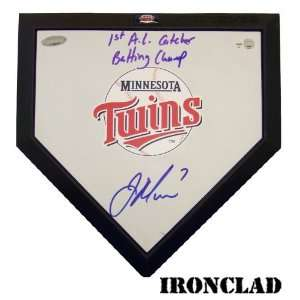 Joe Mauer Autographed Twins Mini Plate w/ 1st AL Catcher Batting