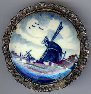 LARGE VINTAGE SIGND STERLING SILVER DELFT WINDMILL POTTERY PIN