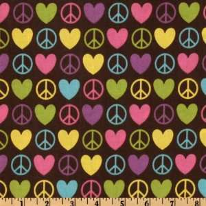 Peace and Love Symbols Brown Fabric By The Yard: Arts, Crafts & Sewing