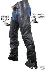 Womens PREMIUM LEATHER DUAL COMFORT MOTORCYCLE CHAPS 16