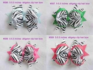 baby girl boutique Zebra hair bows 5 5.5 inches alligator clip