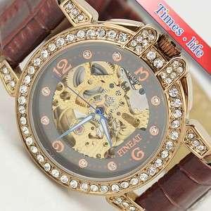 Lady Fashion Diamonds Women Wrist Watch Automatic Skeleton Brown