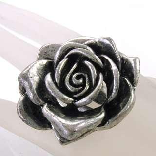 Antique Vintage Style Silver Brass Big Flower Rose Ring