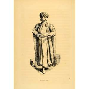 1843 Engraving Costume Arab Merchant Man Turban Robe