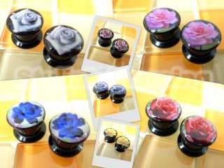 0g 8mm Sugar Skull Rose Flower Screw Flesh Tunnels Ear Plugs   Select