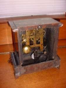 Vintage Seth Thomas Faux Green Swirl Marble Mantel Shelf Clock