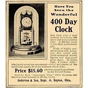 1905 Ad Anderton Son 400 Day Clock Brass Arabic Figures