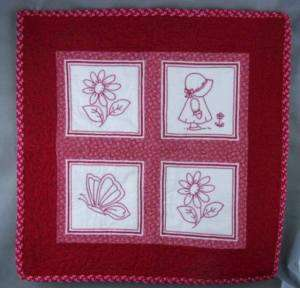 Vintage Quilt Wall Hanging Red Work Bonnet Girl Lovely