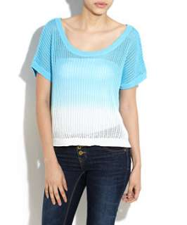 Blue Pattern (Blue) Blue and White Dip Dye Top  242862249  New Look